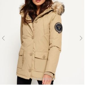 Superdry Winter Rescue Parka Coat Warm Sand S